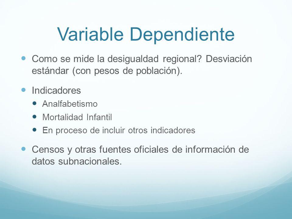 Variable Dependiente Como se mide la desigualdad regional? Desviación estándar (con pesos de población). Indicadores Analfabetismo Mortalidad Infantil