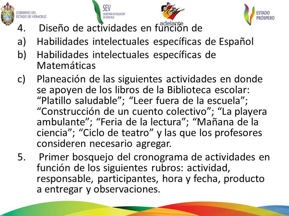 4. Diseño de actividades en función de a)Habilidades intelectuales específicas de Español b)Habilidades intelectuales específicas de Matemáticas c)Pla