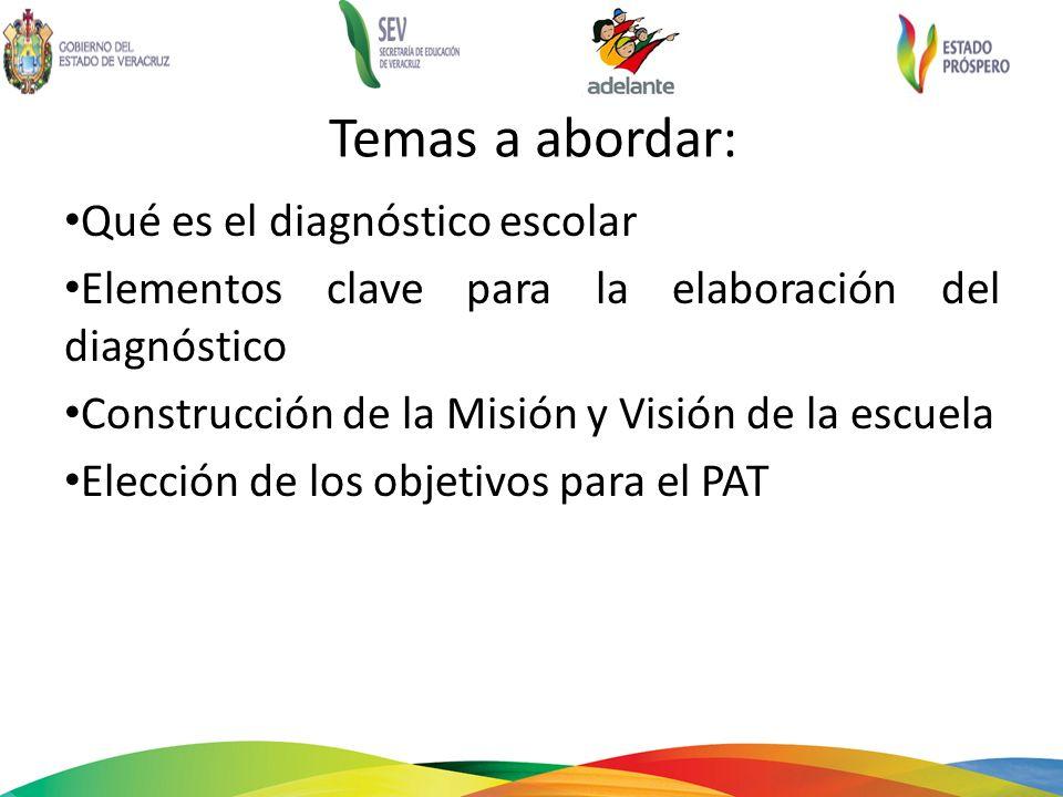 Temas a abordar: Qué es el diagnóstico escolar Elementos clave para la elaboración del diagnóstico Construcción de la Misión y Visión de la escuela Elección de los objetivos para el PAT