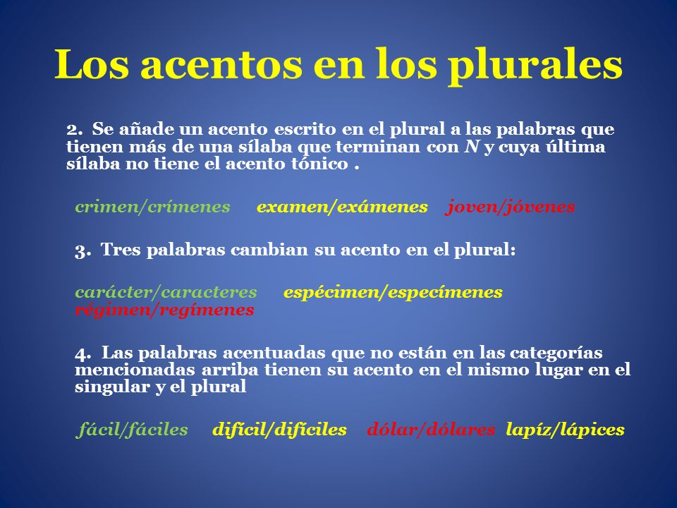 Los acentos en los plurales 2. Se añade un acento escrito en el plural a las palabras que tienen más de una sílaba que terminan con N y cuya última sí