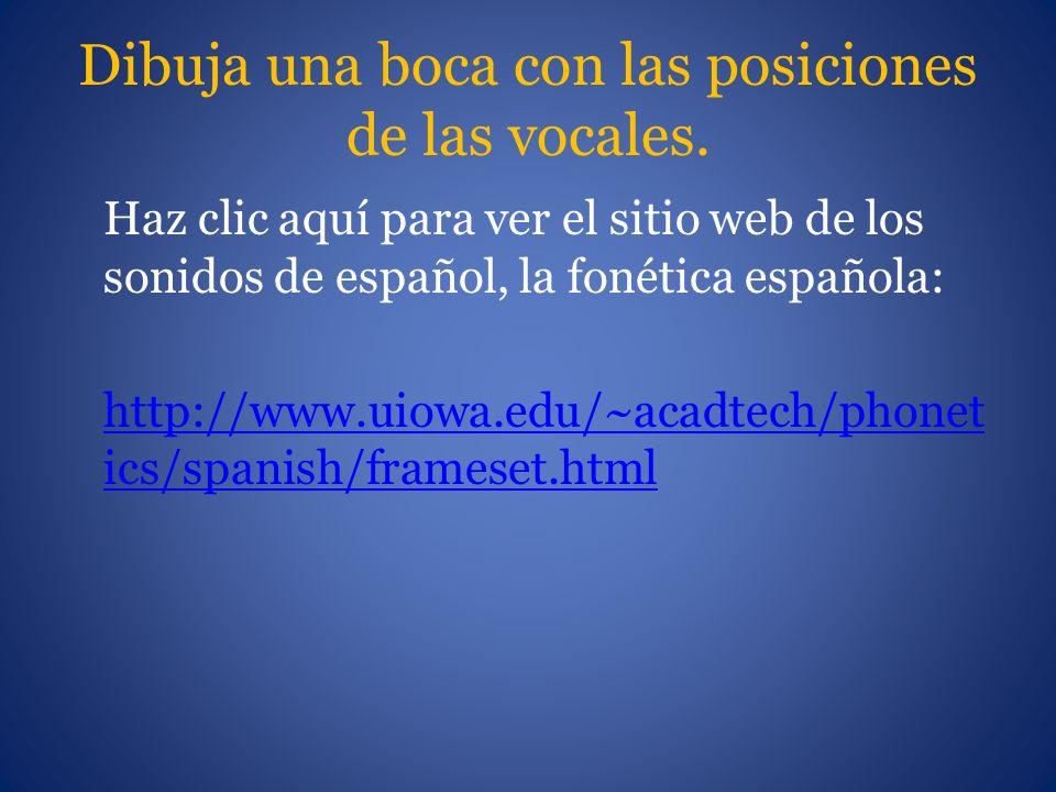 Dibuja una boca con las posiciones de las vocales. Haz clic aquí para ver el sitio web de los sonidos de español, la fonética española: http://www.uio