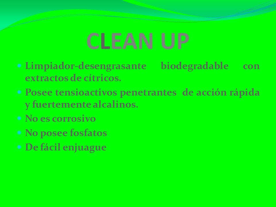 CLEAN UP Limpiador-desengrasante biodegradable con extractos de cítricos.