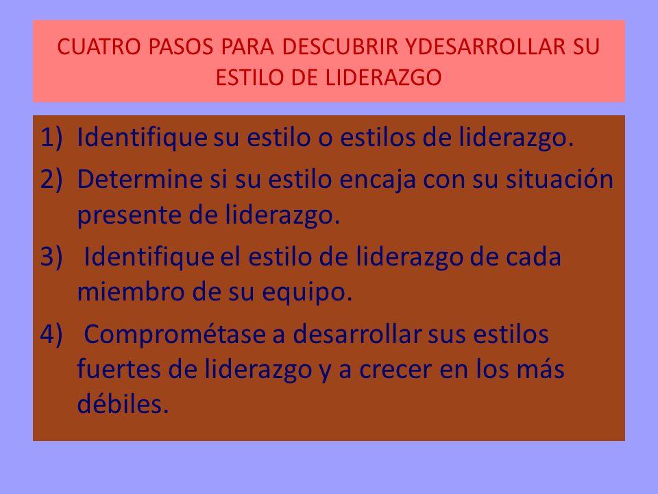 CUATRO PASOS PARA DESCUBRIR YDESARROLLAR SU ESTILO DE LIDERAZGO 1)Identifique su estilo o estilos de liderazgo. 2)Determine si su estilo encaja con su