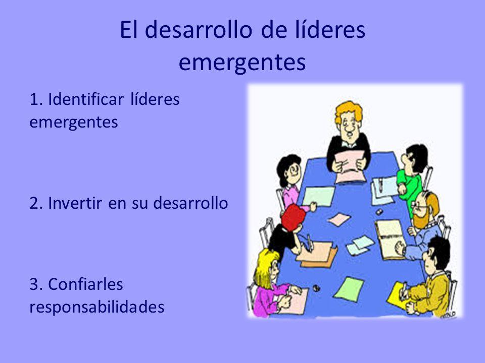 El desarrollo de líderes emergentes 1. Identificar líderes emergentes 2. Invertir en su desarrollo 3. Confiarles responsabilidades