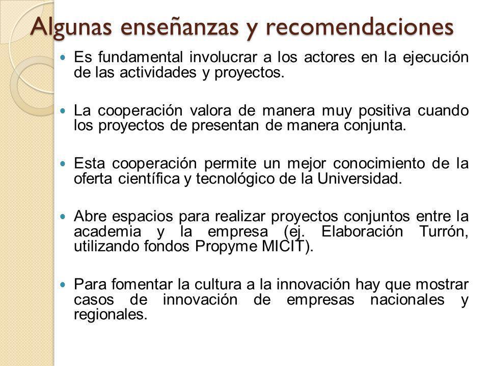 Algunas enseñanzas y recomendaciones Es fundamental involucrar a los actores en la ejecución de las actividades y proyectos. La cooperación valora de
