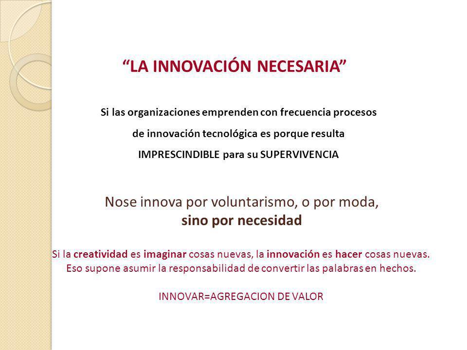 LA INNOVACIÓN NECESARIA Si las organizaciones emprenden con frecuencia procesos de innovación tecnológica es porque resulta IMPRESCINDIBLE para su SUP