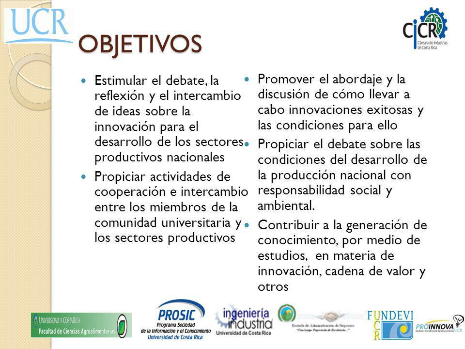 OBJETIVOS Estimular el debate, la reflexión y el intercambio de ideas sobre la innovación para el desarrollo de los sectores productivos nacionales Pr