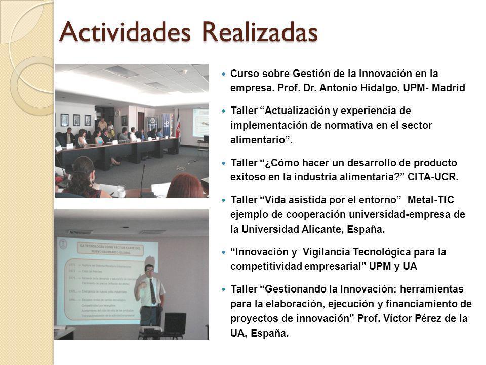 Actividades Realizadas Curso sobre Gestión de la Innovación en la empresa. Prof. Dr. Antonio Hidalgo, UPM- Madrid Taller Actualización y experiencia d