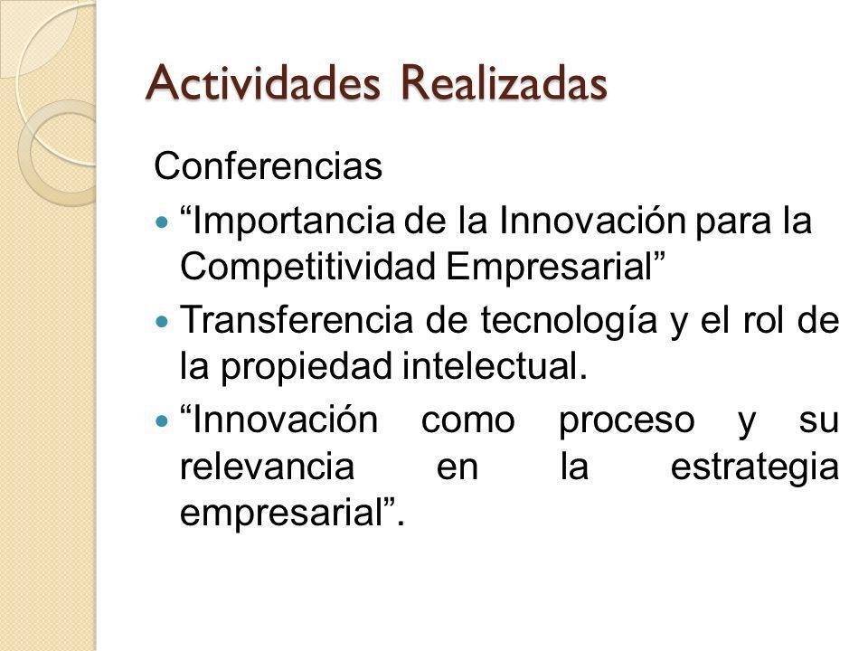 Actividades Realizadas Conferencias Importancia de la Innovación para la Competitividad Empresarial Transferencia de tecnología y el rol de la propied
