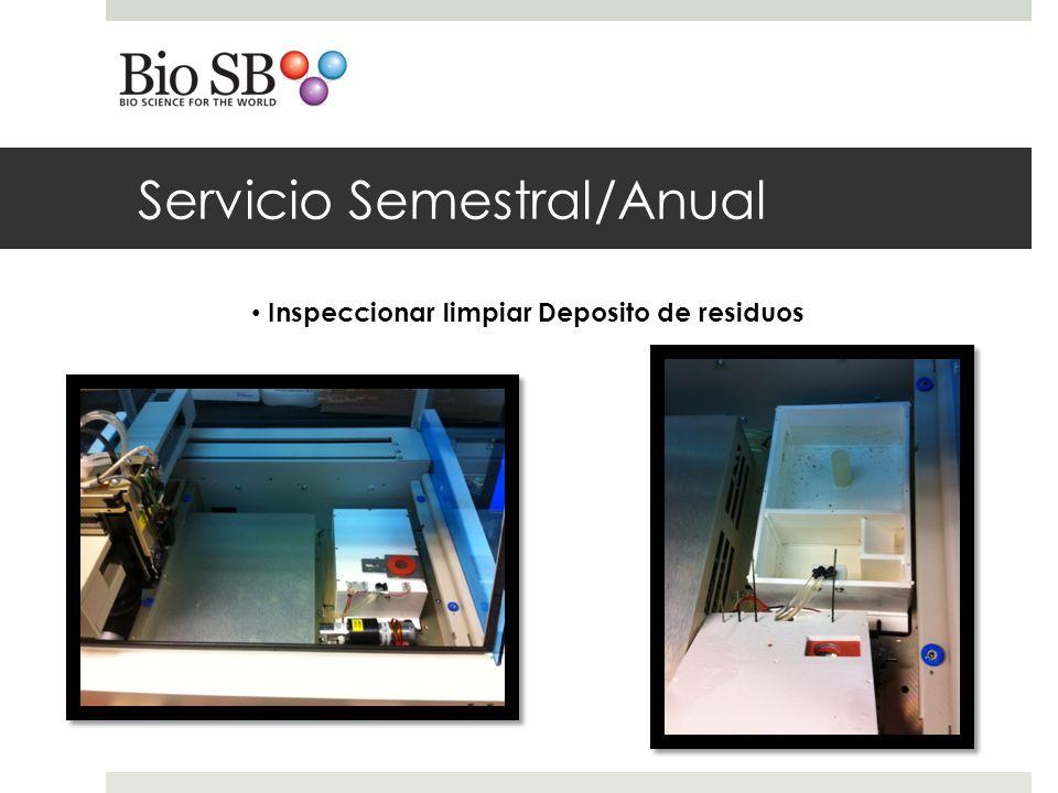 Servicio Semestral/Anual Inspeccionar limpiar Deposito de residuos