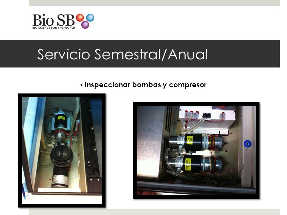 Servicio Semestral/Anual Inspeccionar bombas y compresor