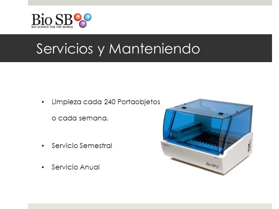 Servicios y Manteniendo Limpieza cada 240 Portaobjetos o cada semana.