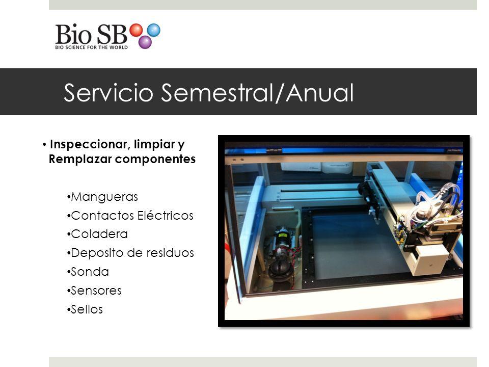 Servicio Semestral/Anual Inspeccionar, limpiar y Remplazar componentes Mangueras Contactos Eléctricos Coladera Deposito de residuos Sonda Sensores Sellos