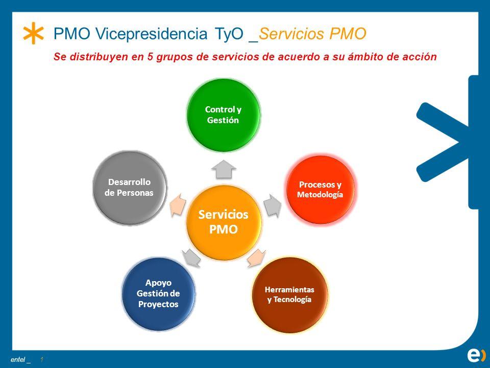 entel _ 1 PMO Vicepresidencia TyO _Servicios PMO Servicios PMO Control y Gestión Apoyo Gestión de Proyectos Procesos y Metodología Desarrollo de Perso
