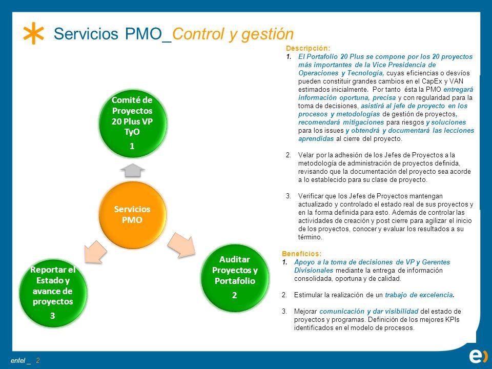 entel _ Beneficios: 1.Establecer una operación eficiente de gestión de proyectos, de acuerdo a la realidad del área en la que está inmersa/apoya la PMO.