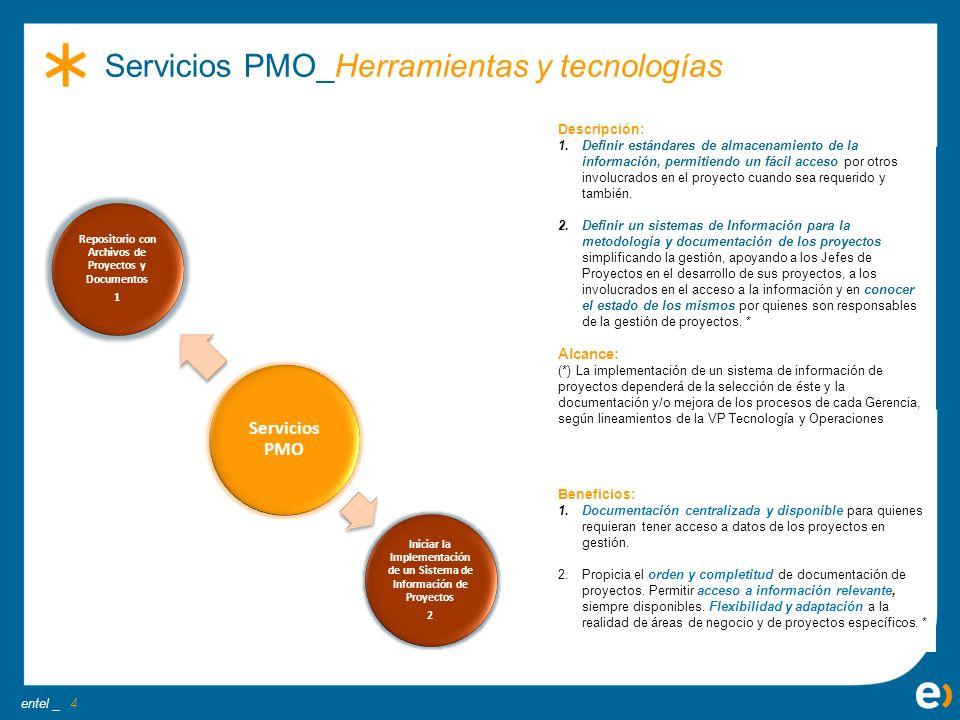 entel _ Beneficios: 1.Documentación centralizada y disponible para quienes requieran tener acceso a datos de los proyectos en gestión. 2.Propicia el o