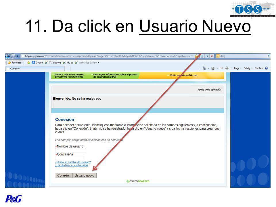 11. Da click en Usuario Nuevo