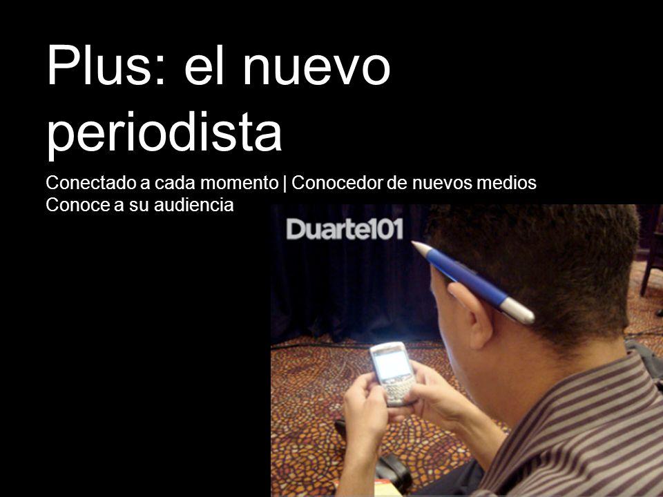 Conectado a cada momento | Conocedor de nuevos medios Conoce a su audiencia Plus: el nuevo periodista