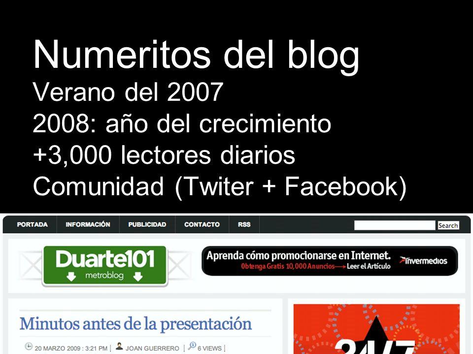 Verano del 2007 2008: año del crecimiento +3,000 lectores diarios Comunidad (Twiter + Facebook) Numeritos del blog