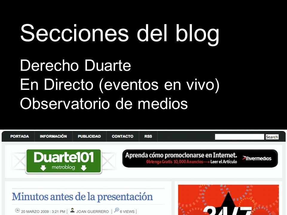 Derecho Duarte En Directo (eventos en vivo) Observatorio de medios Secciones del blog