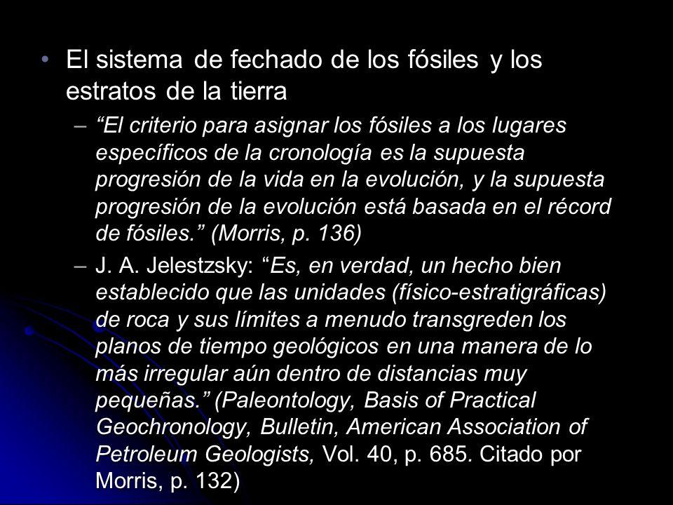 El sistema de fechado de los fósiles y los estratos de la tierraEl sistema de fechado de los fósiles y los estratos de la tierra –El criterio para asignar los fósiles a los lugares específicos de la cronología es la supuesta progresión de la vida en la evolución, y la supuesta progresión de la evolución está basada en el récord de fósiles.