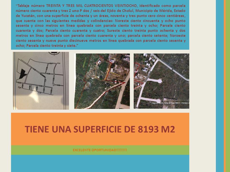 TIENE UNA SUPERFICIE DE 8193 M2 EXCELENTE OPORTUNIDAD!!!!!!!!! Tablaje número TREINTA Y TRES MIL CUATROCIENTOS VEINTIOCHO, identificado como parcela n