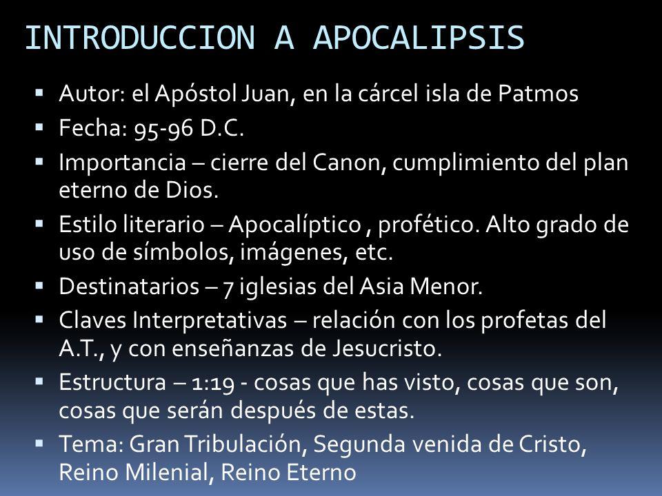 INTRODUCCION A APOCALIPSIS Autor: el Apóstol Juan, en la cárcel isla de Patmos Fecha: 95-96 D.C. Importancia – cierre del Canon, cumplimiento del plan