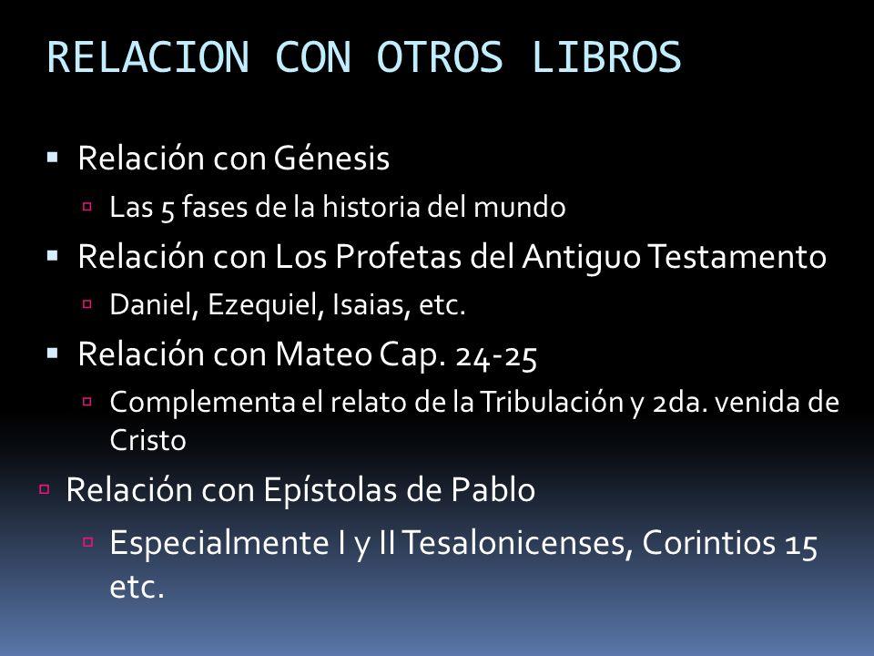 RELACION CON OTROS LIBROS Relación con Génesis Las 5 fases de la historia del mundo Relación con Los Profetas del Antiguo Testamento Daniel, Ezequiel,
