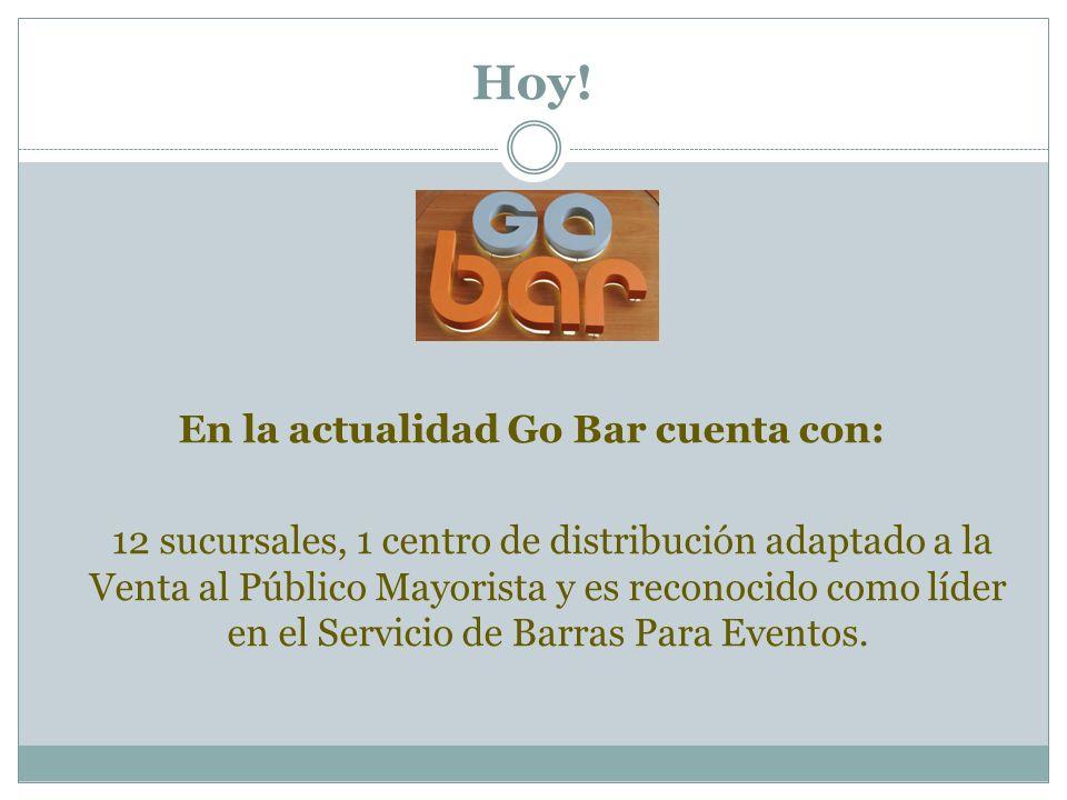 Hoy! En la actualidad Go Bar cuenta con: 12 sucursales, 1 centro de distribución adaptado a la Venta al Público Mayorista y es reconocido como líder e