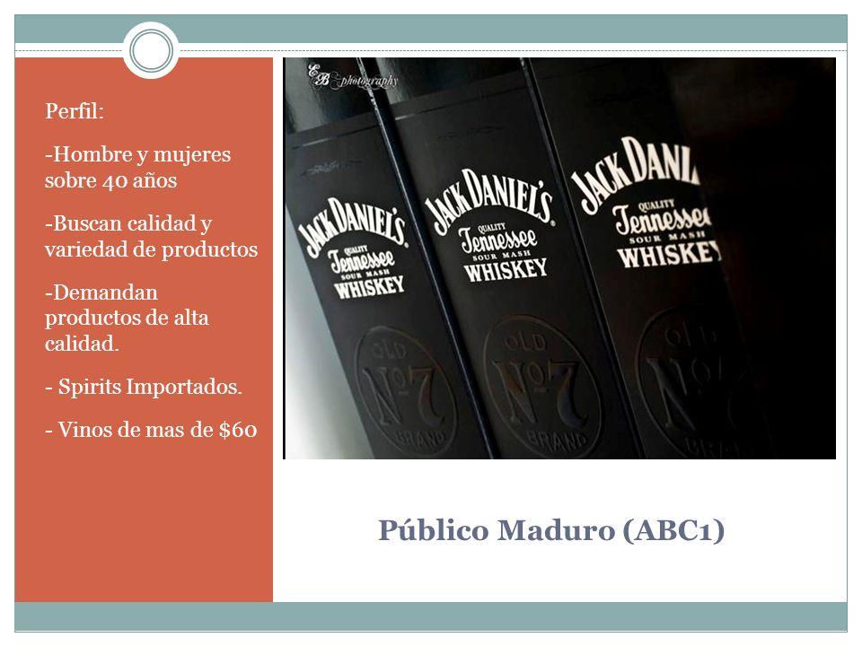 Público Maduro (ABC1) Perfil: -Hombre y mujeres sobre 40 años -Buscan calidad y variedad de productos -Demandan productos de alta calidad. - Spirits I
