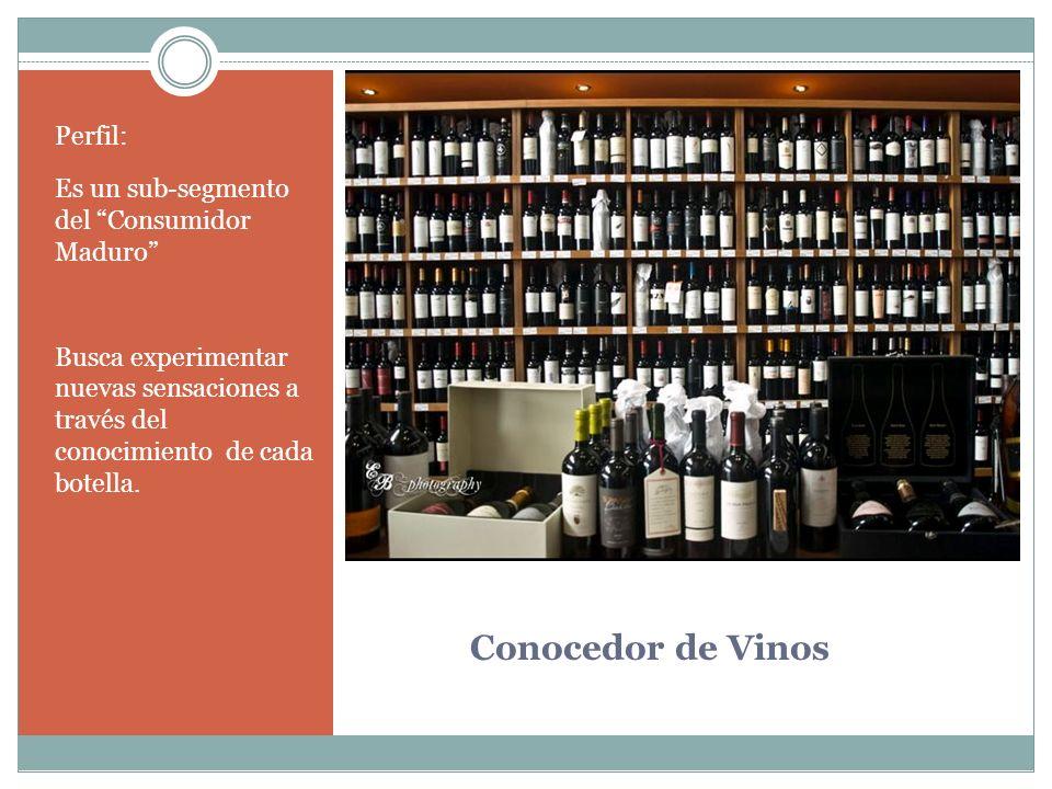 Conocedor de Vinos Perfil: Es un sub-segmento del Consumidor Maduro Busca experimentar nuevas sensaciones a través del conocimiento de cada botella.