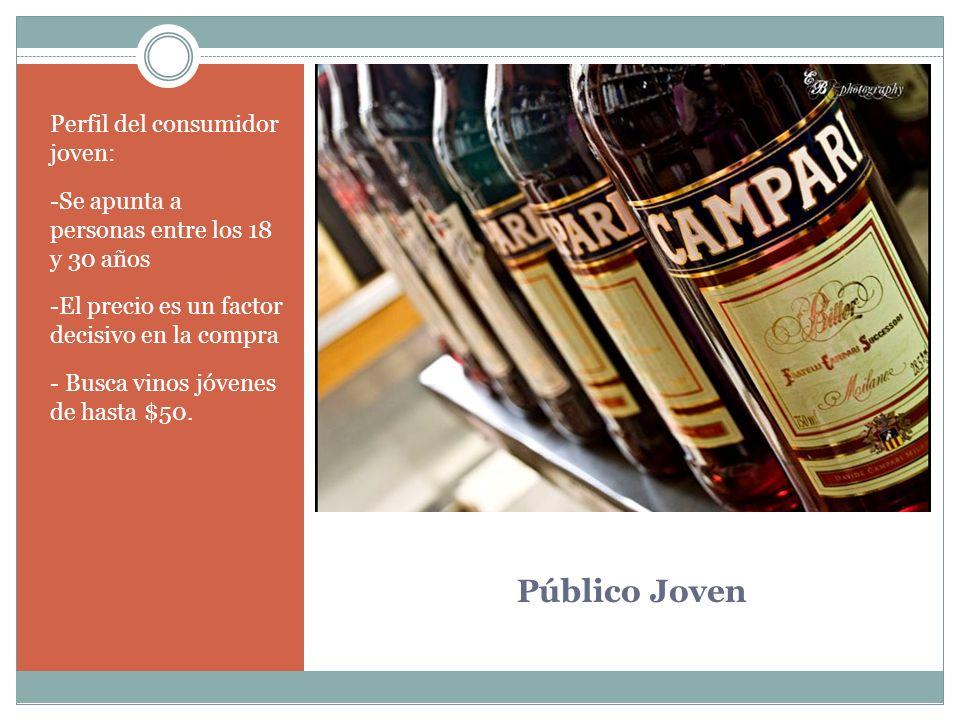 Público Joven Perfil del consumidor joven: -Se apunta a personas entre los 18 y 30 años -El precio es un factor decisivo en la compra - Busca vinos jó