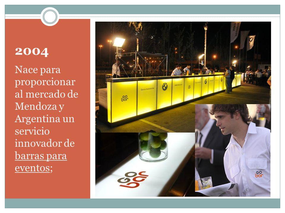 2004 Nace para proporcionar al mercado de Mendoza y Argentina un servicio innovador de barras para eventos;