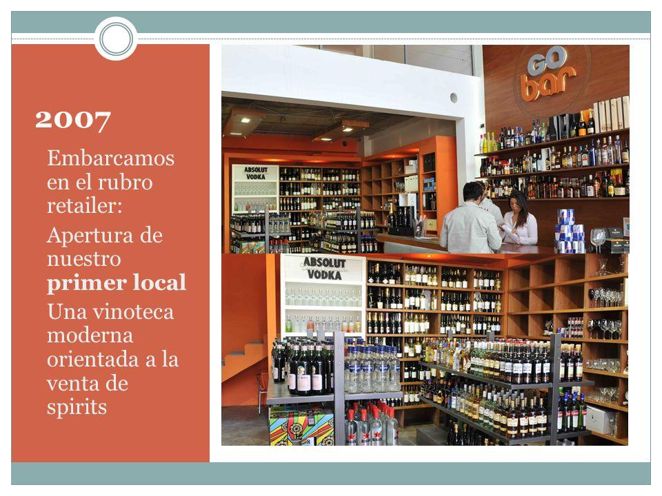 2007 Embarcamos en el rubro retailer: Apertura de nuestro primer local Una vinoteca moderna orientada a la venta de spirits