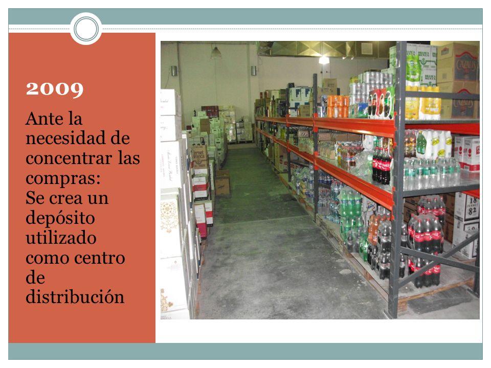 2009 Ante la necesidad de concentrar las compras: Se crea un depósito utilizado como centro de distribución