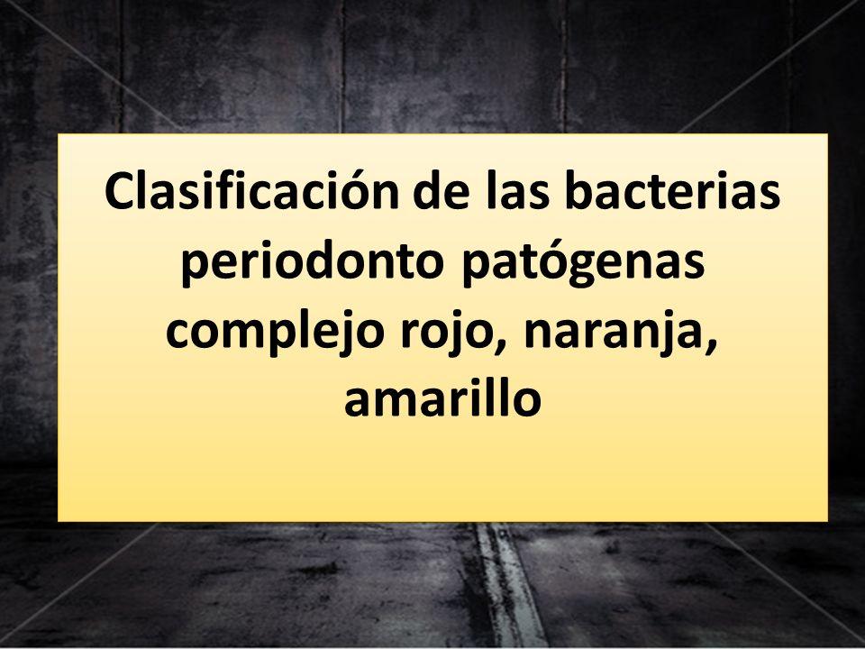 Clasificación de las bacterias periodonto patógenas complejo rojo, naranja, amarillo