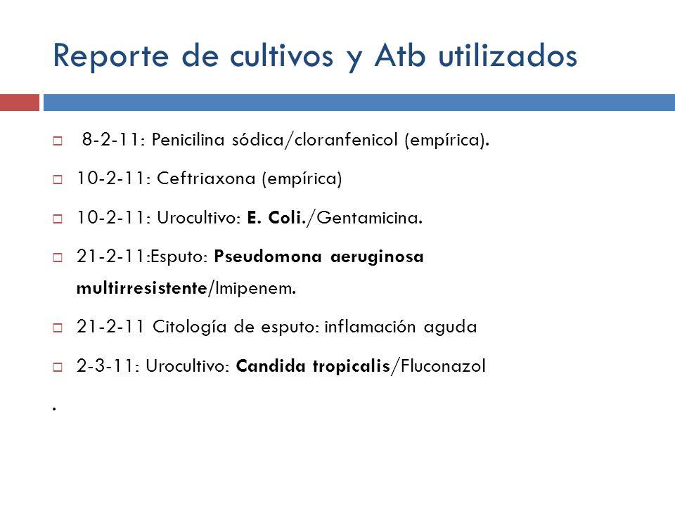 Reporte de cultivos y Atb utilizados 8-2-11: Penicilina sódica/cloranfenicol (empírica). 10-2-11: Ceftriaxona (empírica) 10-2-11: Urocultivo: E. Coli.
