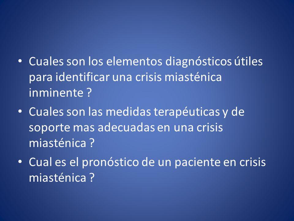 Cuales son los elementos diagnósticos útiles para identificar una crisis miasténica inminente ? Cuales son las medidas terapéuticas y de soporte mas a