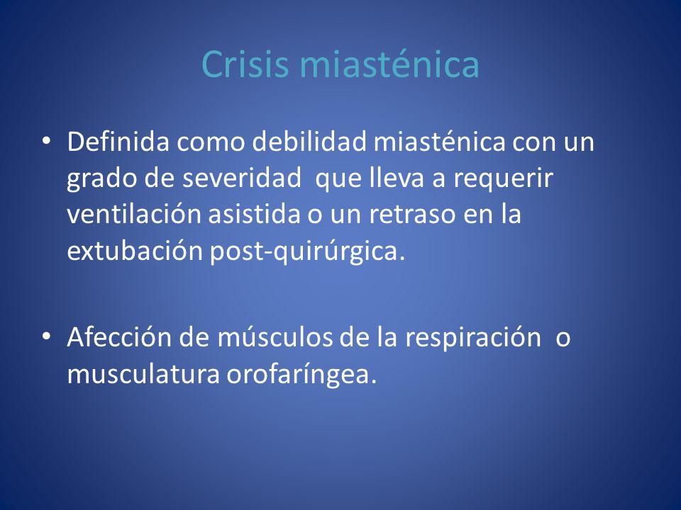 Crisis miasténica Definida como debilidad miasténica con un grado de severidad que lleva a requerir ventilación asistida o un retraso en la extubación