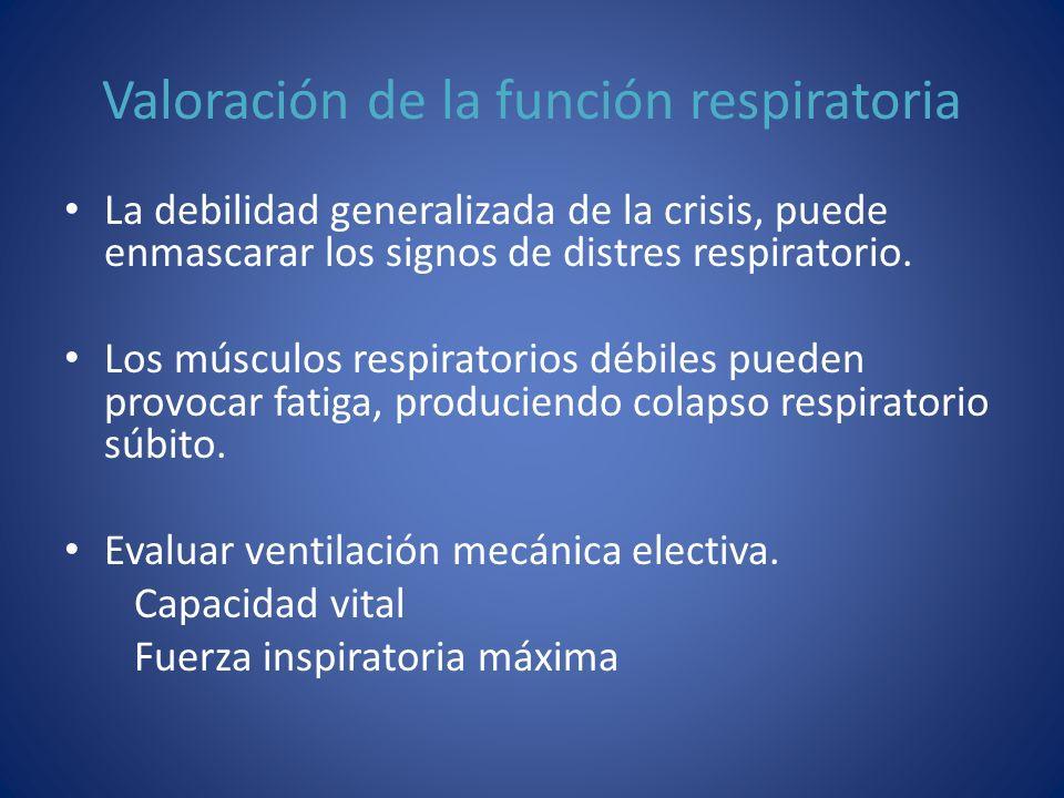 Valoración de la función respiratoria La debilidad generalizada de la crisis, puede enmascarar los signos de distres respiratorio. Los músculos respir