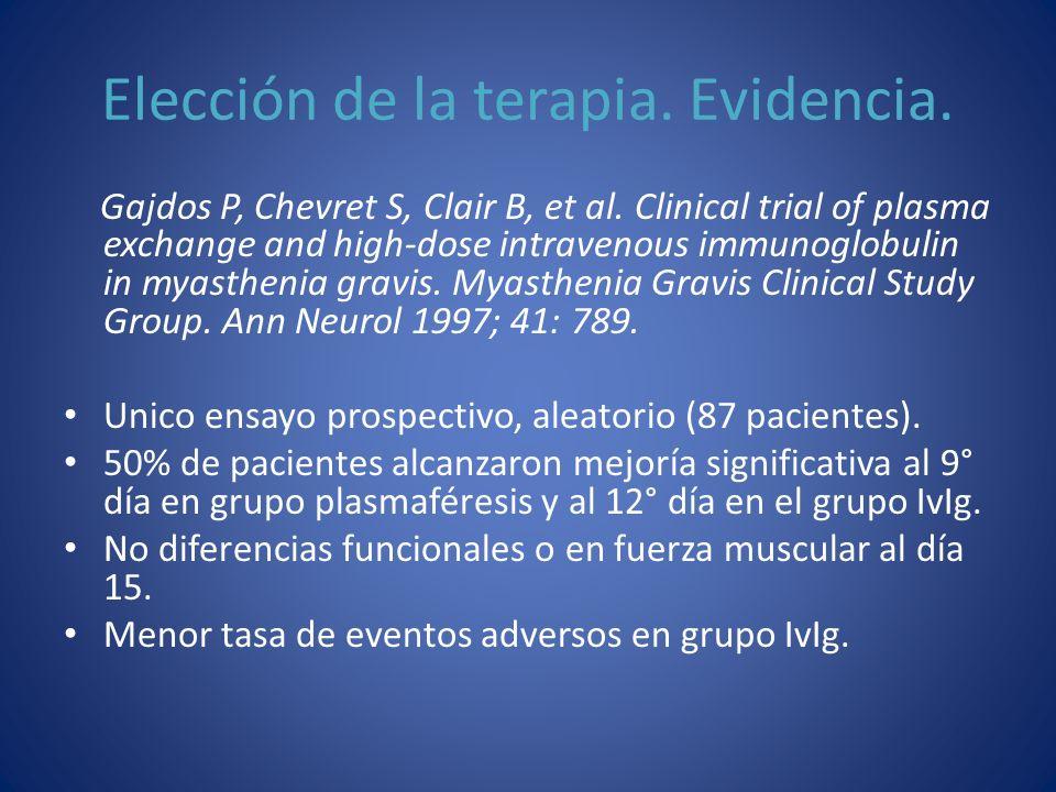 Elección de la terapia. Evidencia. Gajdos P, Chevret S, Clair B, et al. Clinical trial of plasma exchange and high-dose intravenous immunoglobulin in