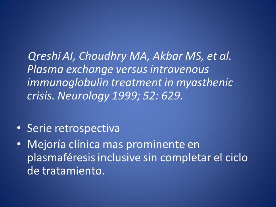 Qreshi AI, Choudhry MA, Akbar MS, et al. Plasma exchange versus intravenous immunoglobulin treatment in myasthenic crisis. Neurology 1999; 52: 629. Se