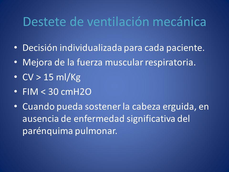 Destete de ventilación mecánica Decisión individualizada para cada paciente. Mejora de la fuerza muscular respiratoria. CV > 15 ml/Kg FIM < 30 cmH2O C