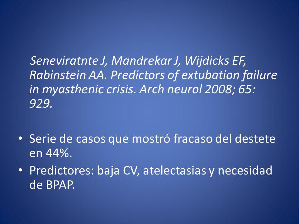Seneviratnte J, Mandrekar J, Wijdicks EF, Rabinstein AA. Predictors of extubation failure in myasthenic crisis. Arch neurol 2008; 65: 929. Serie de ca