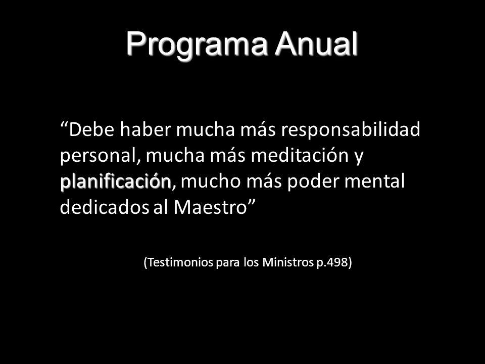 Programa Anual planificación Debe haber mucha más responsabilidad personal, mucha más meditación y planificación, mucho más poder mental dedicados al