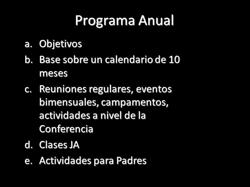 a. Objetivos b. Base sobre un calendario de 10 meses c. Reuniones regulares, eventos bimensuales, campamentos, actividades a nivel de la Conferencia d