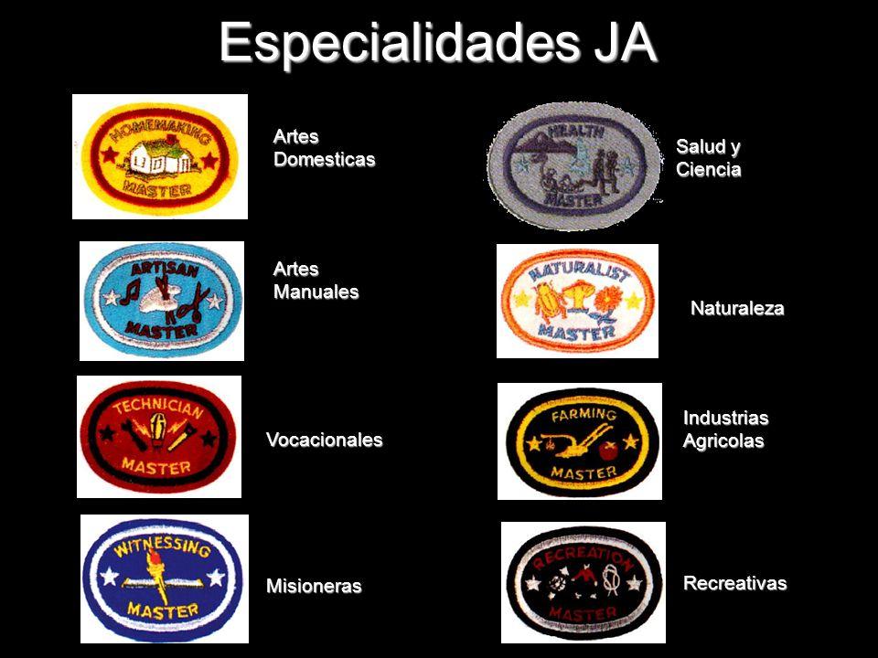 Especialidades JA Vocacionales Recreativas Naturaleza Artes Manuales Industrias Agricolas Artes Domesticas Salud y Ciencia Misioneras
