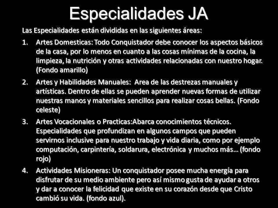 Especialidades JA Las Especialidades están divididas en las siguientes áreas: 1.Artes Domesticas: Todo Conquistador debe conocer los aspectos básicos