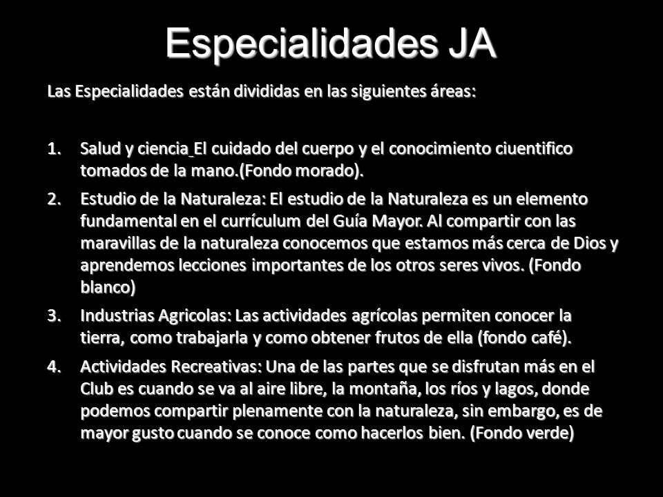 Especialidades JA Las Especialidades están divididas en las siguientes áreas: 1.Salud y ciencia El cuidado del cuerpo y el conocimiento ciuentifico to