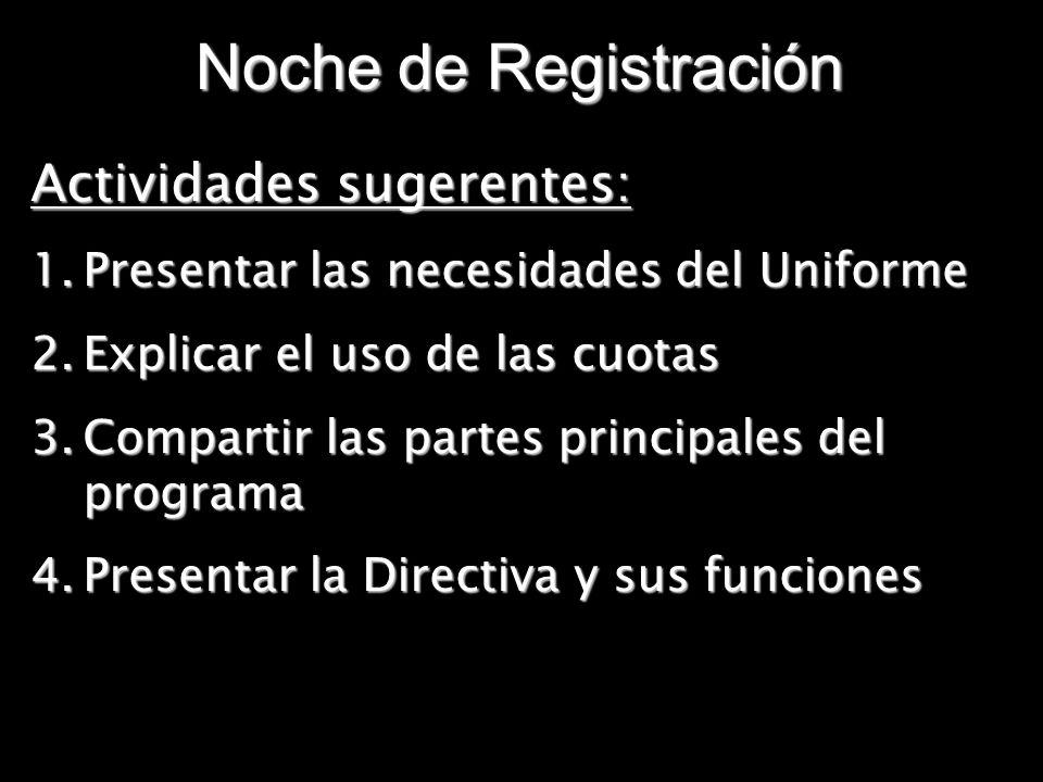Noche de Registración Actividades sugerentes: 1.Presentar las necesidades del Uniforme 2.Explicar el uso de las cuotas 3.Compartir las partes principa